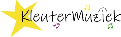 Logo KleuterMuziek: een gele ster en muzieknootjes in vrolijke kleuren.